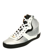 Eroy Embossed Leather High-Top Sneaker, Silver