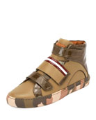 Herrick Camouflage Leather High-Top Sneaker