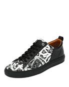 Herbi Graffiti-Print Leather Low-Top Sneaker