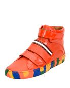 Herick Leather High-Top Sneaker, Orange
