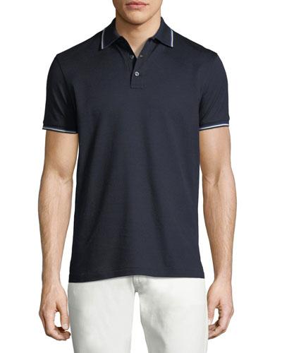 Tipped-Trim Piqué Polo Shirt