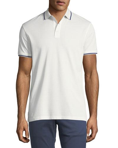 Tipped-Trim Piqué Polo Shirt, White