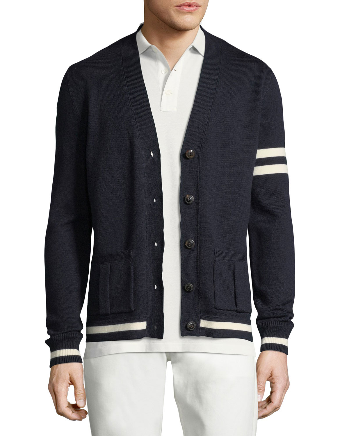 Striped-Trim Wool Varsity Cardigan