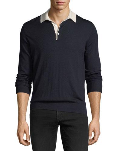Contrast-Collar Wool Sweater