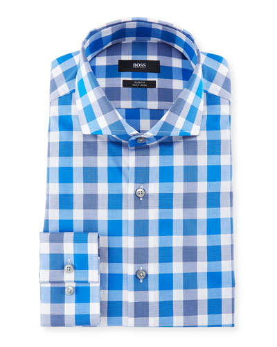 Jason Slim Fit Easy Iron Large-Plaid Cotton Dress Shirt, Medium Blue