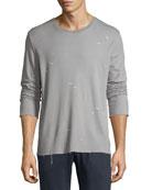 Distressed Jersey Long-Sleeve Shirt