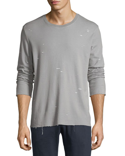 Distressed Jersey Long-Sleeve Shirt