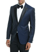 Satin-Lapel Dot-Textured Dinner Jacket