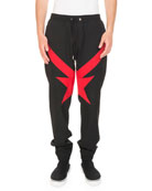 Red Star-Knit Jogger Trouser Pants