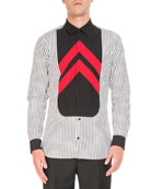 Striped Contrast-Bib Shirt