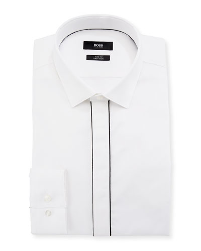 Jamir Slim Fit Easy Iron Contrast-Piping Cotton Dress Shirt