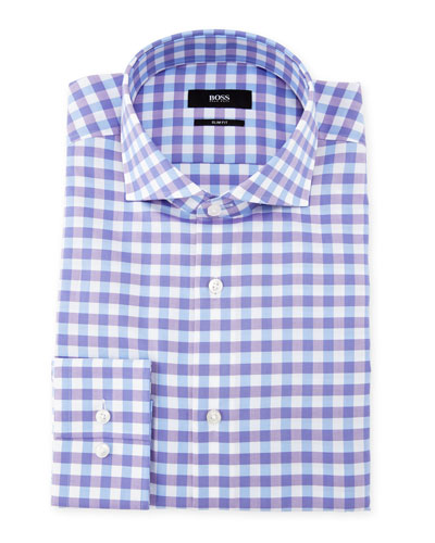 Jenno Gingham Dress Shirt, Purple