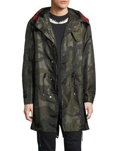 Nylon Camouflage-Print Parka Coat