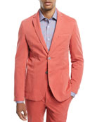 Washed Cotton Two-Button Blazer