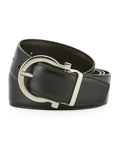 Stamped Leather Gancio Buckle Belt