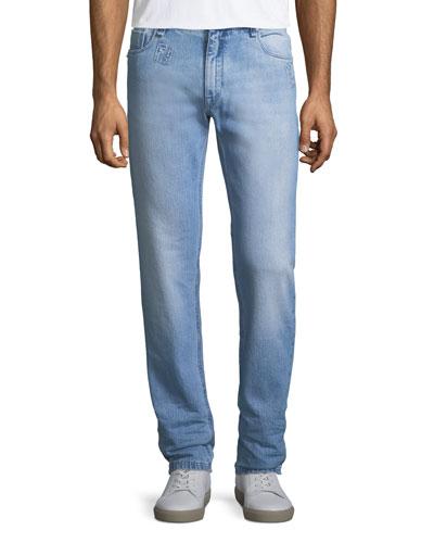 8a88650b25d2e6 Quick Look. Fendi · Logo-Patch Slim-Leg Jeans