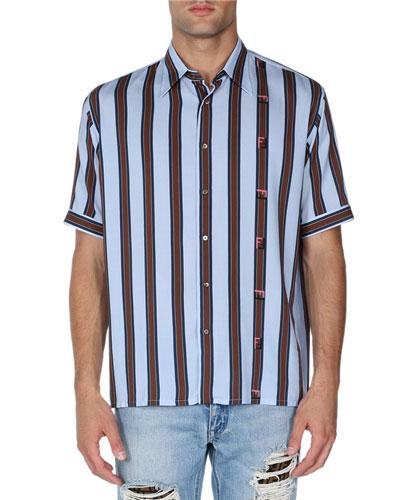 Allover-Logo Short-Sleeve Sport Shirt