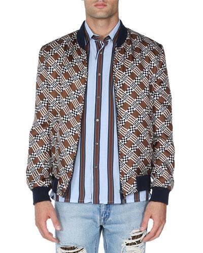 Logo-Print Silk Bomber Jacket