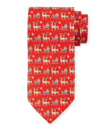 Reindeer-Print Silk Tie, Red
