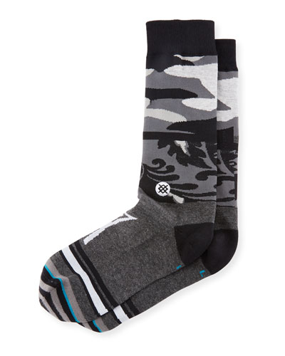 Camouflage Panel Cotton-Blend Socks