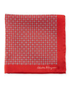 Solid-Border Gancini Silk Pocket Square, Red