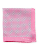 Solid-Border Gancini Silk Pocket Square, Pink