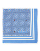 Small Leaves Silk Pocket Square, Blue