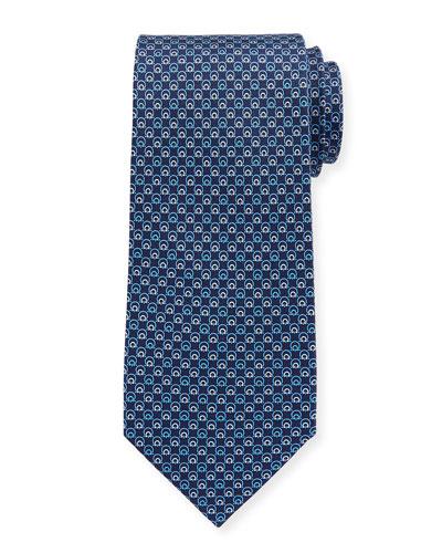 Interlocking Gancini Silk Tie, Dark Blue
