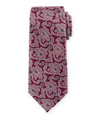 Ermenegildo Zegna Abstract Floral Silk Tie, Purple
