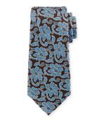 Ermenegildo Zegna Abstract Floral Silk Tie, Blue
