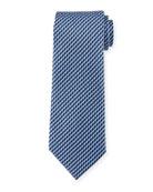 Printed Striped Stairs Silk Tie, Blue