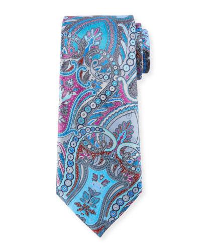 Quindici Paisley Silk Tie, Gray
