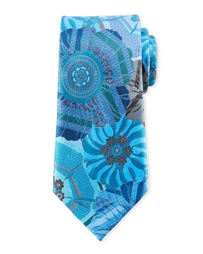 Quindici Mosaic Silk Tie, Teal
