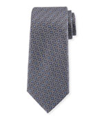 Connected Flower Silk Tie, Gray