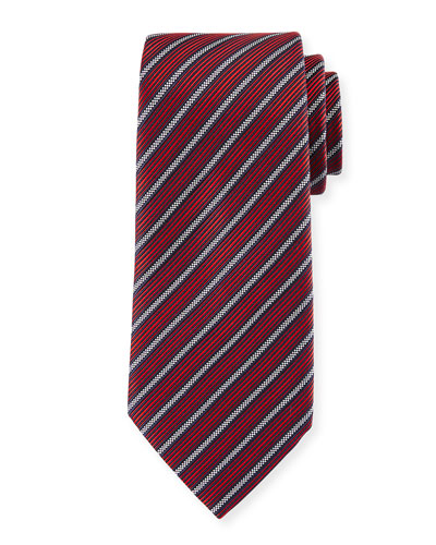 Multi-Stripe Silk Tie, Red