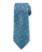 Ermenegildo Zegna Medallion Silk Tie, Blue