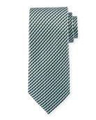 Printed Stairs Silk Tie, Green