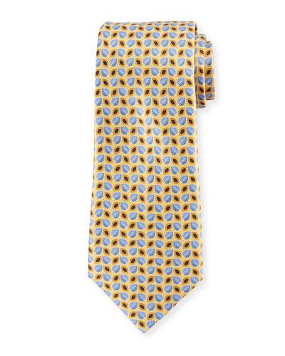 Alternating Leaves Silk Tie, Yellow