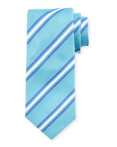 Framed Stripes Silk Tie, Blue