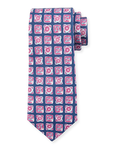 Diamond-Print Silk-Blend Tie