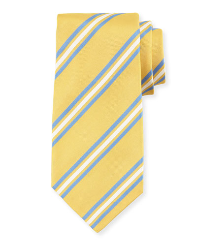 Framed Striped Silk Tie, Yellow