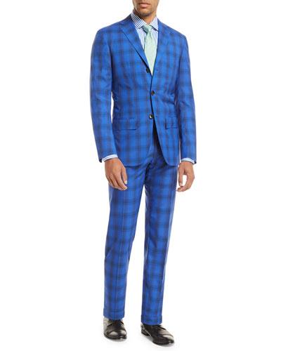 Ombre Plaid Two-Piece Suit