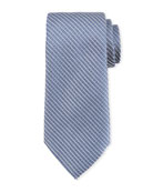 Diagonal Chain Silk Tie, Blue