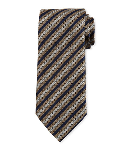 Diamond-Striped Silk Tie