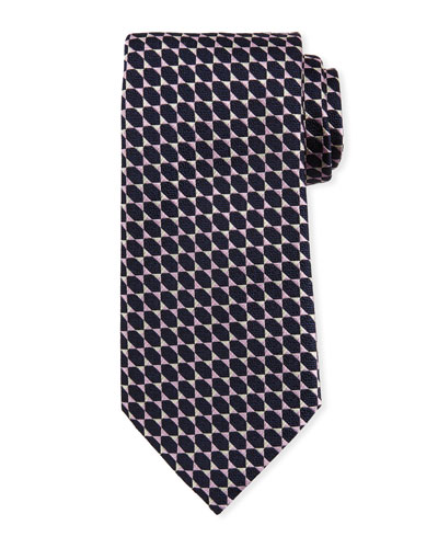 Octagons Silk Tie, Pink