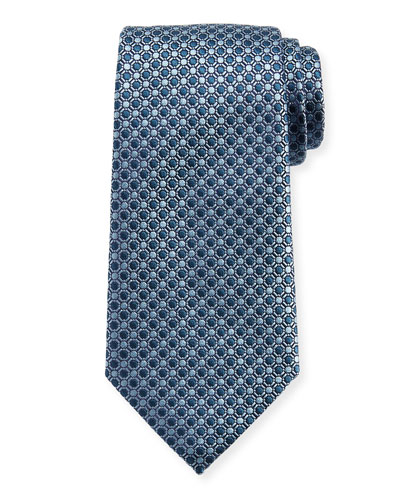 Connected Circles Silk Tie, Blue