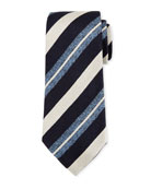 Seasonal Striped Silk-Linen Tie