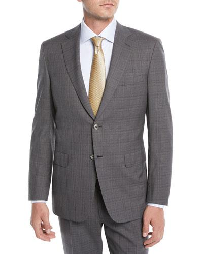 Men's Plaid Wool Two-Piece Suit, Gray