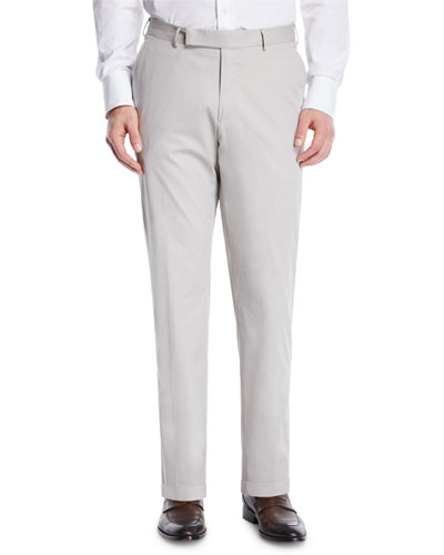 Cotton Flat-Front Dress Pants