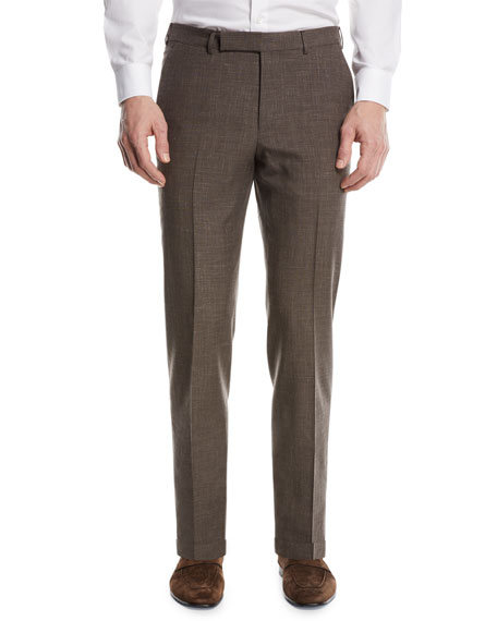 Ermenegildo Zegna Wool-Blend Flat-Front Trousers